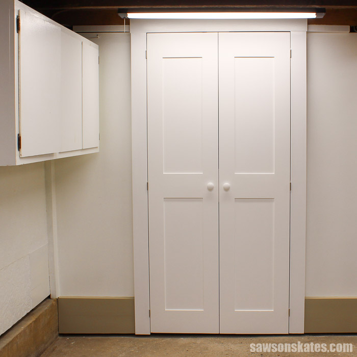 Make a Door with Pocket Holes - the door was primed and painted high gloss white