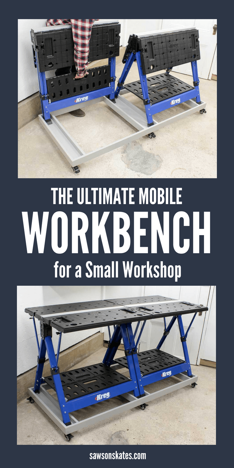 The Kreg Mobile Project Center is a workbench, an assembly table, a clamping station, it can be used as a sawhorse, and it folds flat for storage, so it's the perfect solution for a small workshop. But add a second Mobile Project Center and this easy to build DIY rolling base and you have the ULTIMATE WORKBENCH for a small workshop! Casters allow the base to move where you need it and lock to keep the workbench in place. Storage areas keep accessories close at hand. #workbench #smallworkshop #woodworkingtips