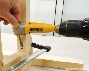 A right angle drill for tight spaces was used to drive a pocket screw on this DIY ladder chair