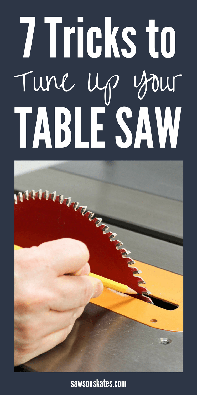 The table saw is one of the workshop tools we use the most to build DIY projects. From ideas like replacing the stock saw blade to adjusting the fence and reducing friction to protecting your hands here are 7 of the best tips and tricks to make the most of your table saw! #woodworkingtips #tablesaw #tablesawtips