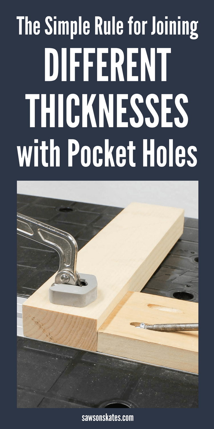 Joining different thickness with pocket holes is one of the most common joints we use for building DIY furniture projects, but how should you set up your Kreg Jig to join thicker and thinner materials? Here's the simple rule to remember when joining different thicknesses. #kregjig #woodworkingtips #pocketholes