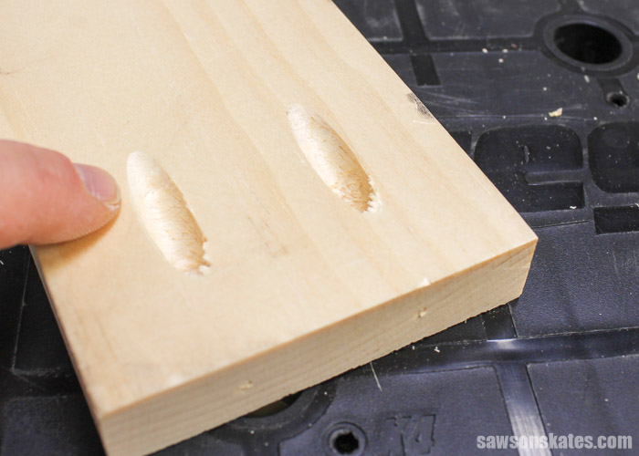Prevent Rough Pocket Holes - pocket holes drilled with the grain or on the length of the workpiece will always look cleaner