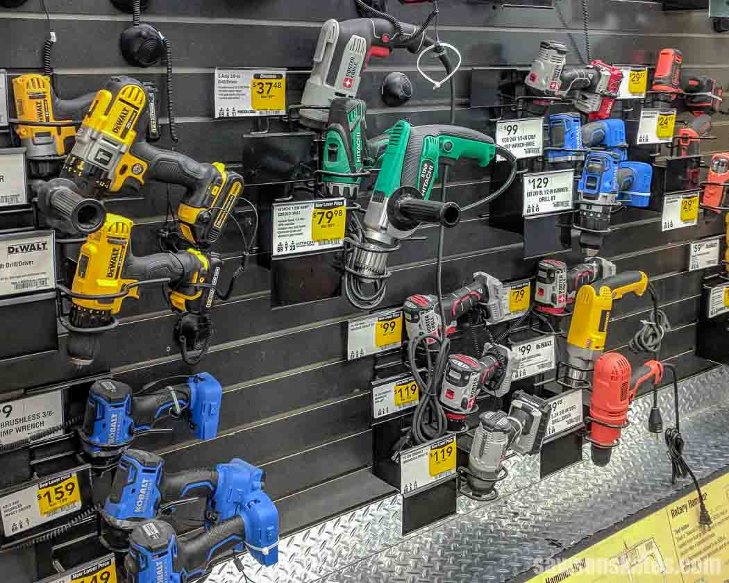 Display of corded and cordless drills