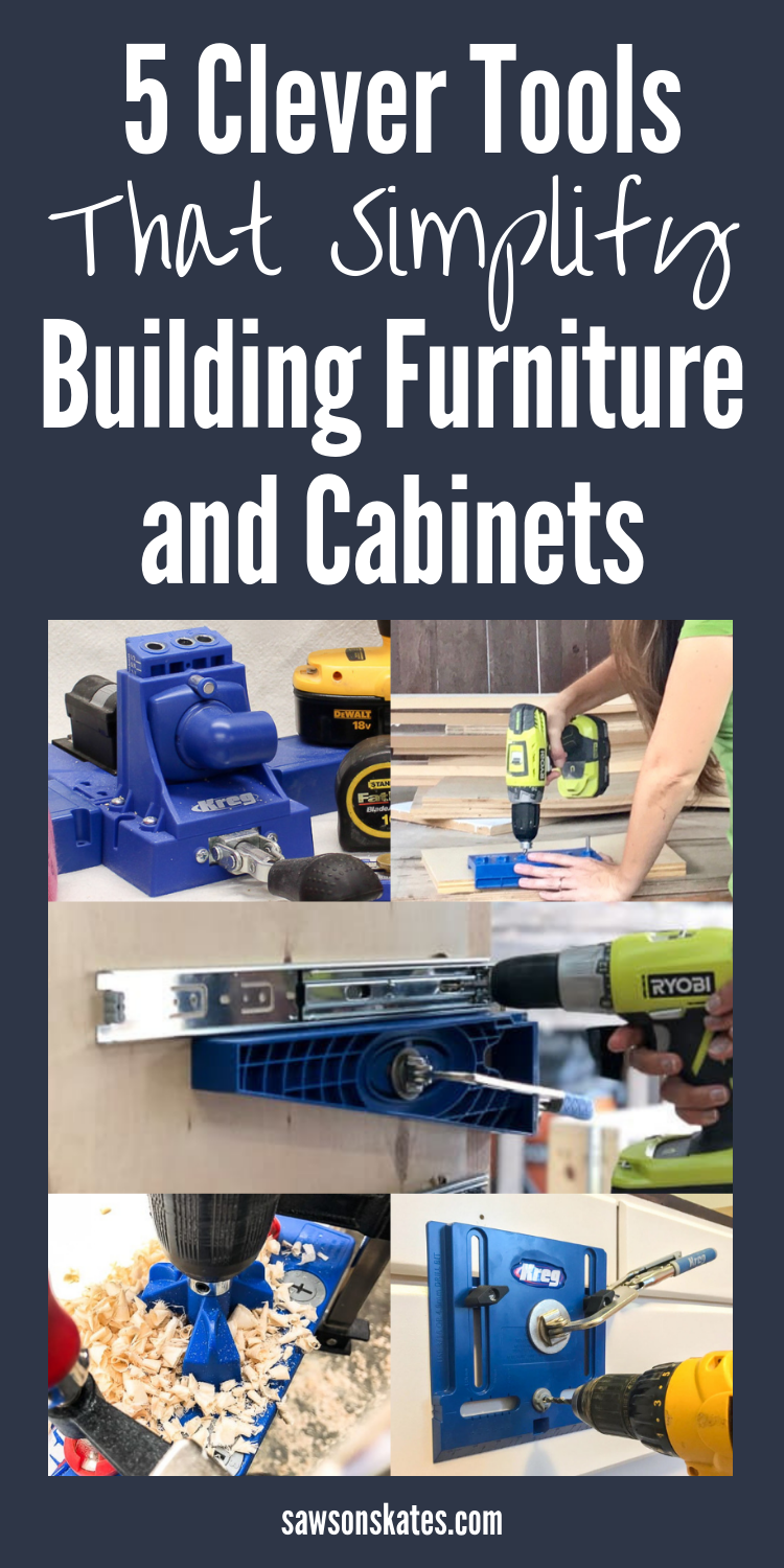 I always wanted to build DIY projects like kitchen cabinets or make furniture using plans, but I was always so intimidated. Then I found this article! There are great ideas for using tools to add adjustable storage shelves, the easy way to install drawers using a jig, how to install hinges and the simple way to drill holes for pulls and knobs. So glad I found this! #diy #diytips #shelves #hinges #diycabinets #diyfurniture #woodworking #woodworkingtips #woodworkingtools #kregjig #woodworkingjigs