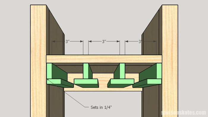 DIY Wine Cabinet - install the stemware holders