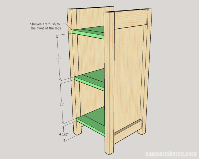 DIY Wine Cabinet - install the shelves