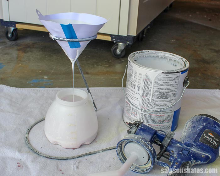 Straining paint before spraying helps to remove air bubbles and reduces the chances of orange peel texture