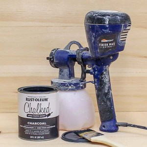 Chalk-style paint can be applied with a paint sprayer