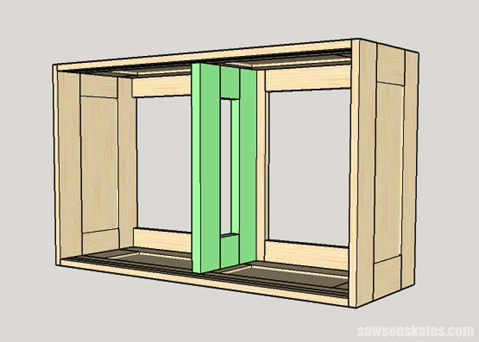 Sketch showing placement of a tool storage cabinet divider
