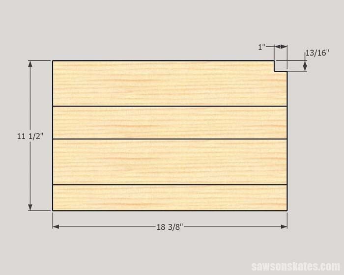Sketch showing the dimensions of a shelf for a cordless tool storage shelf