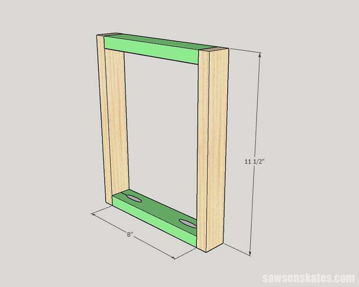 Sketch showing how to assemble the back of the custom wood frames