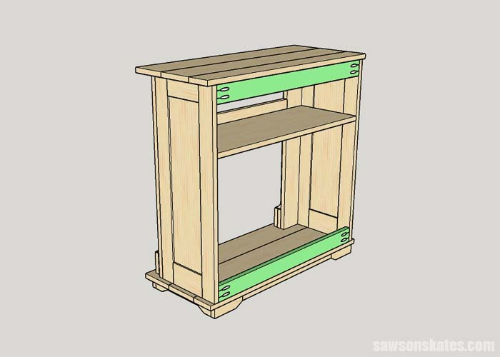 Installing the back braces of the DIY electric fireplace TV stand