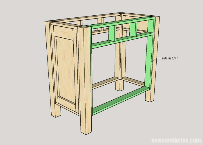 Adding the back to the kitty litter box furniture