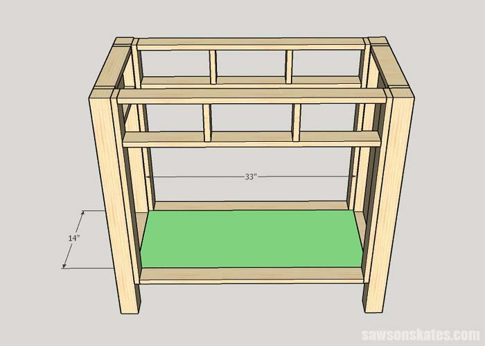 Installing the bottom in the DIY wooden litter box