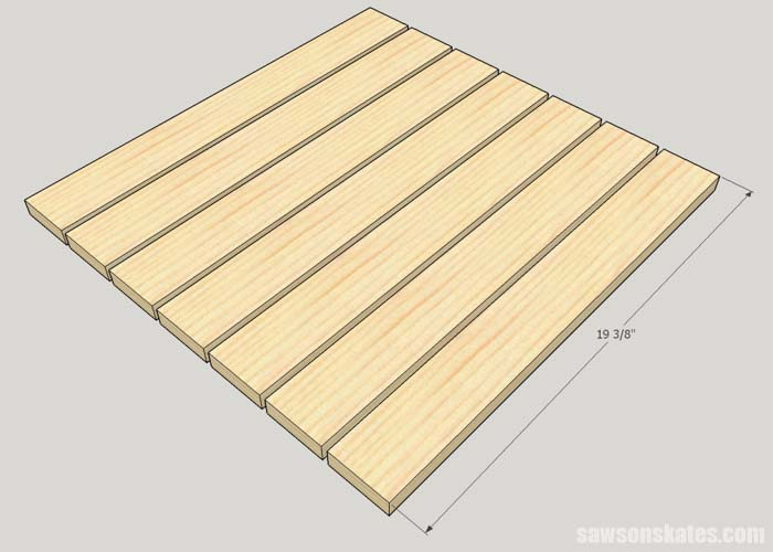 Sketch showing how to cut the top slats for the DIY outdoor side table