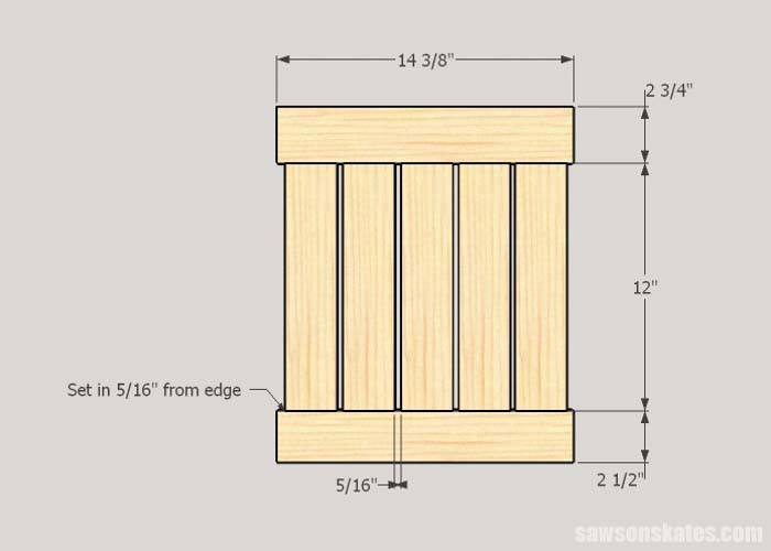Sketch showing the front and back panels of the DIY outdoor side table