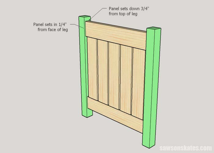 Sketch showing how to attach the legs to the front and back panels of the DIY outdoor side table