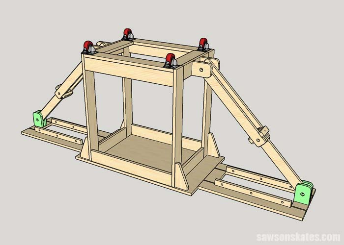 Installing the upper arm anchors on a folding miter saw station