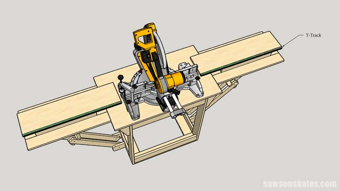 Attaching t-track to a collapsible DIY miter saw station