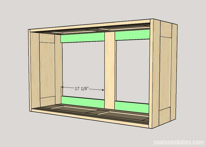 Sketch showing the horizontal back braces for the DIY tool storage cabinets