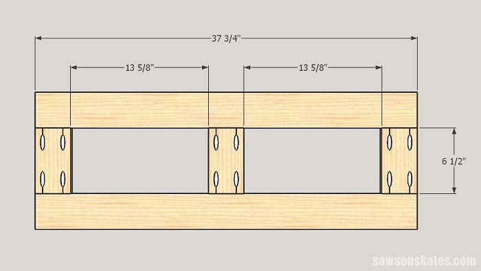 Sketch showing the dimensions of the top and bottom frames for making DIY tool storage cabinets