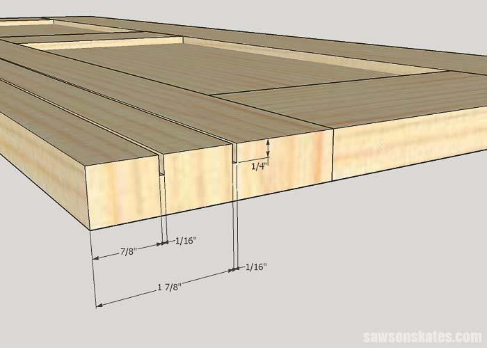 Sketch showing the groove detail for the workshop storage cabinet sliding door hardware
