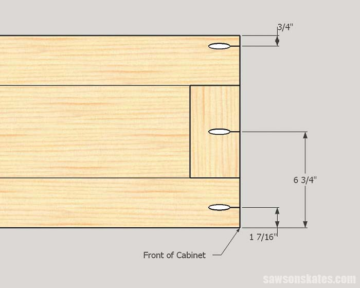 Sketch showing the pocket hole locations for the top and bottom assembly