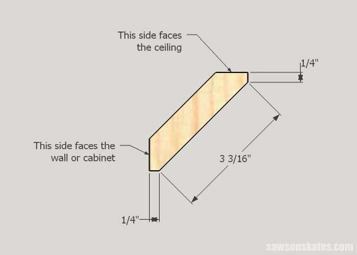 Sketch showing the dimensions of DIY Shaker style crown molding