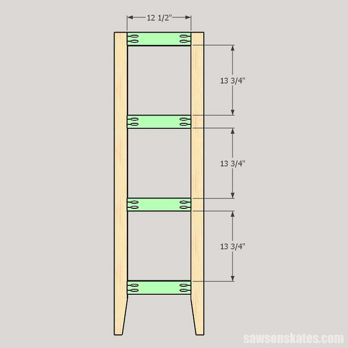 Sketch showing the back rail locations for the outdoor plant stand