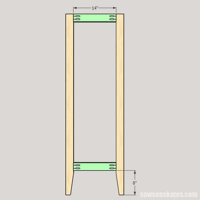 Sketch showing how to assemble the front of the outdoor plant stand