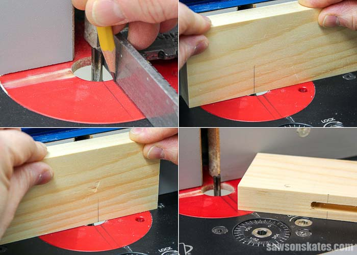 Collage showing how to use a router to cut a groove in the stiles used to make Shaker doors.