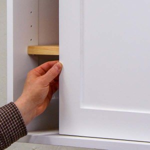 Sliding a Shaker-style cabinet door made with a Kreg Jig