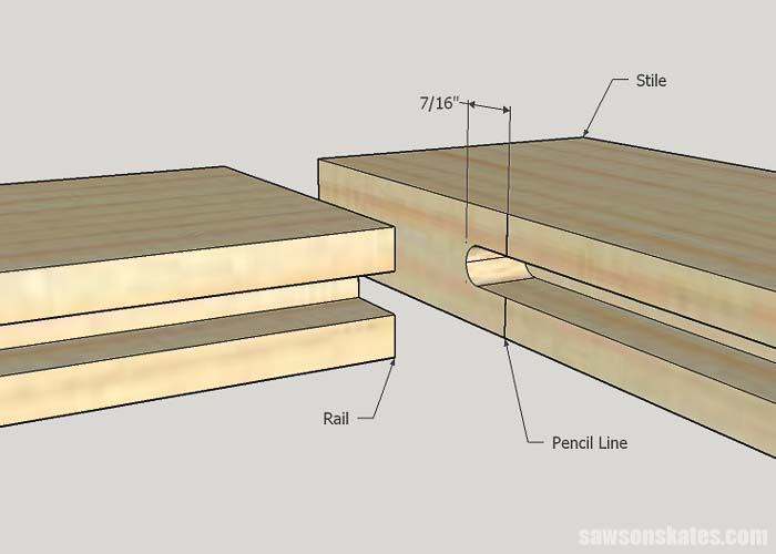 How to make a cabinet door sketch showing the layout of the grooves in the frame parts for DIY Shaker cabinet doors