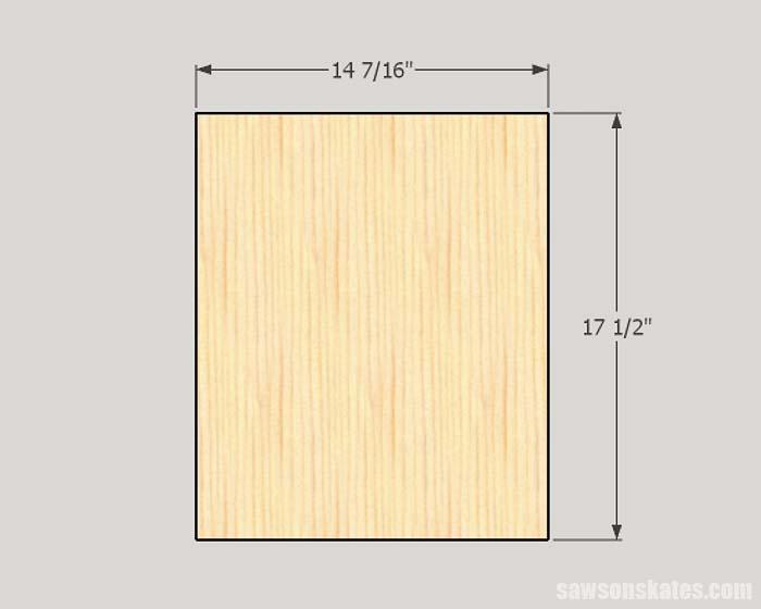 Sketch showing the dimensions of door panel for making cabinet doors