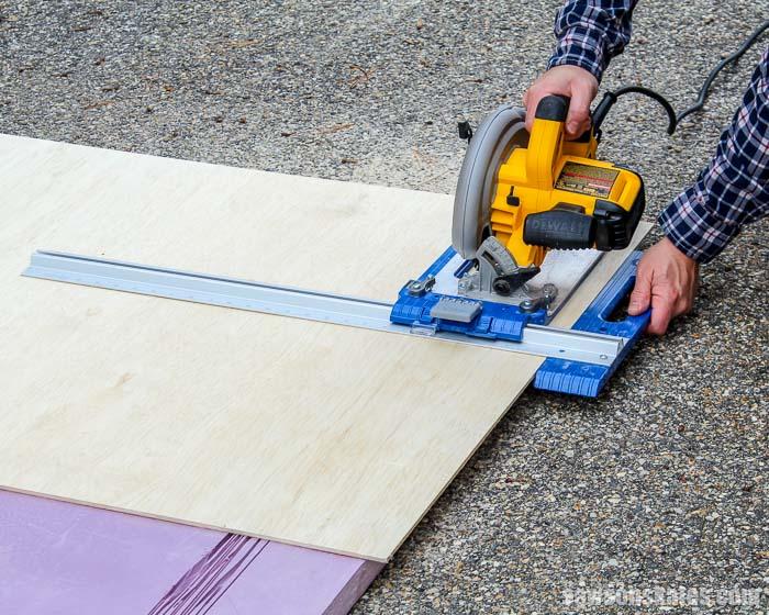 "Using a circular saw and Kreg Rip-Cut to cut 1/4"" plywood"