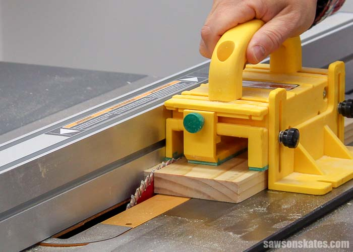 Using a pushblock when making narrow rip cuts helps to improve table saw safety