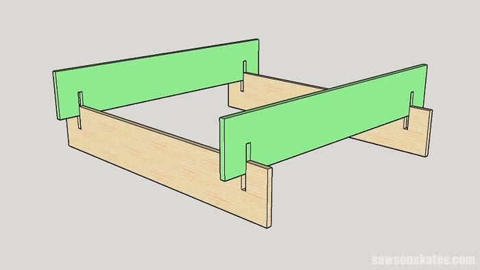 Sketch showing how to slide the sides of the box together for the tiered garden bed plans