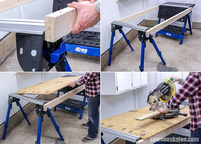 The Kreg Track Horse sawhorse pairs with a Kreg Mobile Project Center to create a large workbench