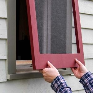 Installing a wood window screen frame in a window opening