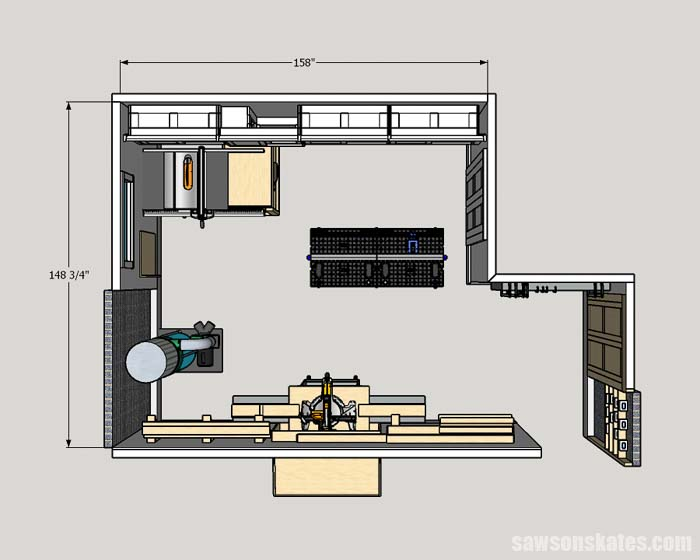 Floor plan of a 12x13 156 square feet woodshop