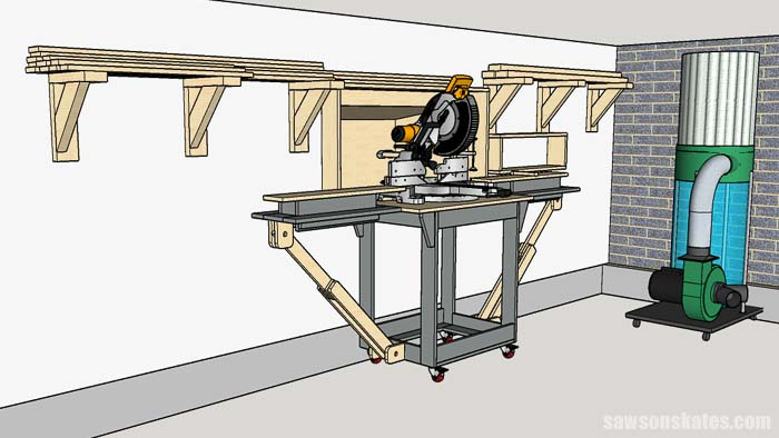 The design of this miter saw station saves space in woodshop