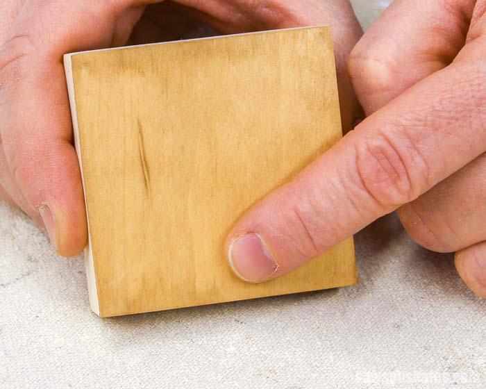 End grain absorbs more coffee wood stain than the face grain and edge grain