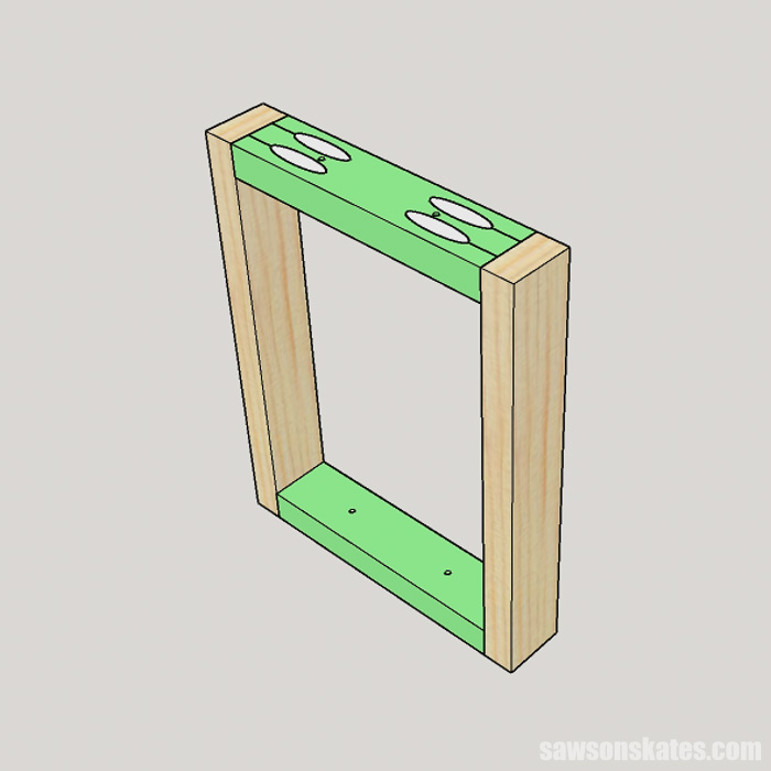 Sketch showing how to make an easy picture frame DIY earring holder