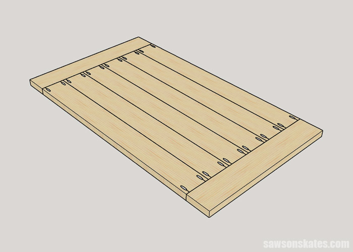 Sketch showing breadboard ends attached to a DIY farmhouse table