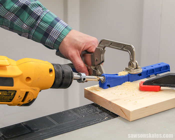 Drilling a pocket hole to make a DIY shelf insert