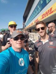 Darren with Roman Grosjean at the British Grand Prix