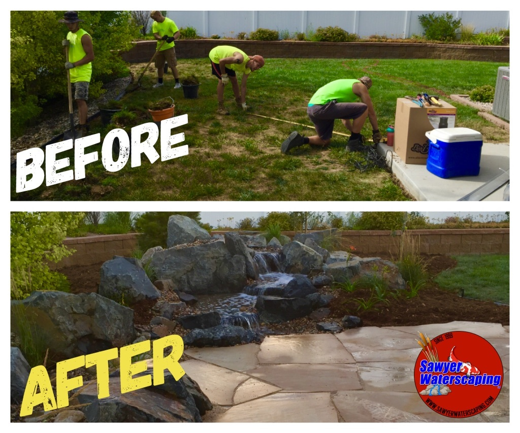 Before and After 7' Pondless Waterfall