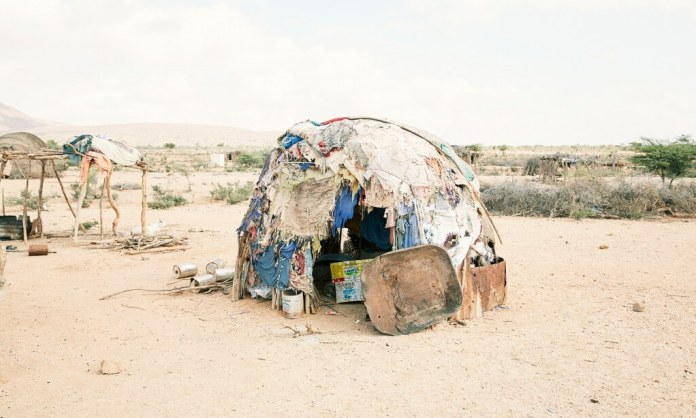 A flimsy makeshift home belonging to one of the displaced people living outside Gargara, a village in Somaliland. Photograph: Felicity McCabe