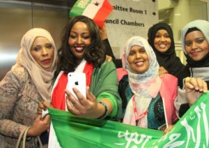 Cllr Rabina Khan (left) joins Somaliland campaigners for a 'selfie' after Tower Hamlets 'recognition' vote