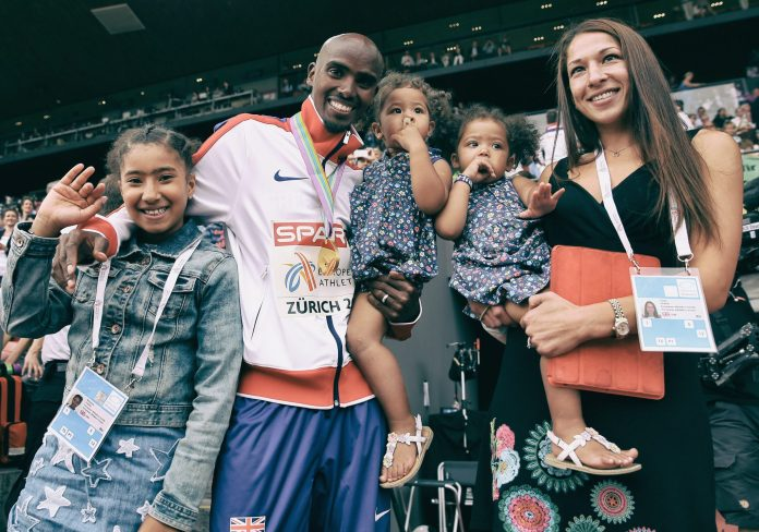 Family man Mohamed Farah with his wife Tania and children Rhianna, Amani and Aisha